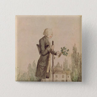 Jean-Jacques Rousseau  Gathering Herbs 2 Inch Square Button