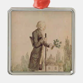 Jean-Jacques Rousseau  Gathering Herbs Silver-Colored Square Ornament
