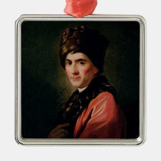 Jean Jacques Rousseau Silver-Colored Square Ornament