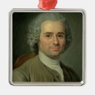 Jean-Jacques Rousseau Silver-Colored Square Ornament