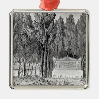 Jean-Jacques Rousseau's  tomb at Ermenonville Silver-Colored Square Ornament