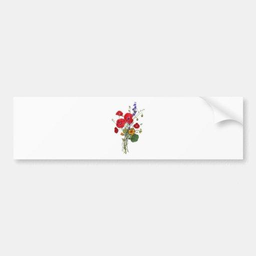 Jean Louis Prevost Bright Red Nasturtium Bouquet Bumper Sticker