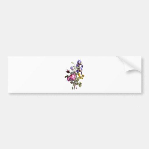 Jean Louis Prevost Cabbage Rose and Iris Bouquet Bumper Sticker