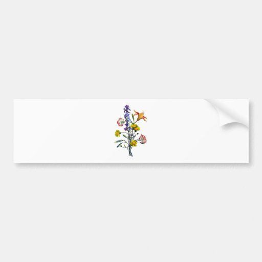 Jean Louis Prevost Day Lily and Carnation Bouquet Bumper Stickers