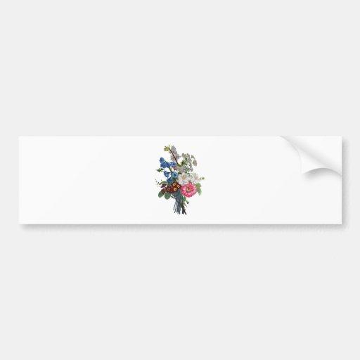 Jean Louis Prevost Mixed Flower Bouquet Bumper Stickers