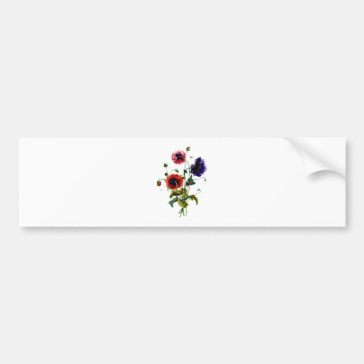 Jean Louis Prevost Mixed Poppy Bouquet Bumper Sticker