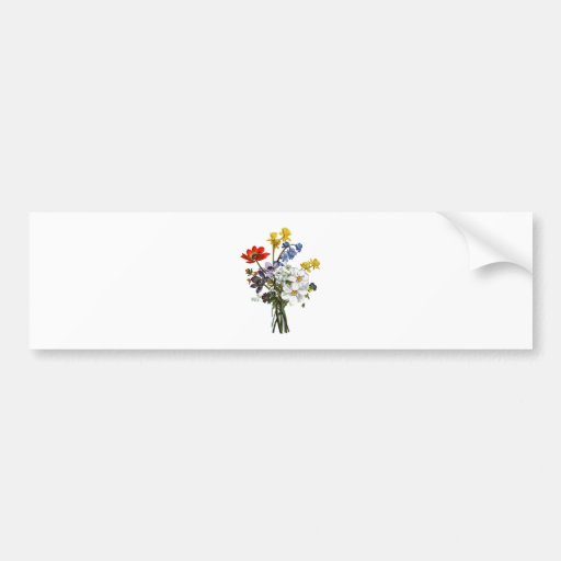 Jean Louis Prevost Narcissus and Buttercup Bouquet Bumper Sticker