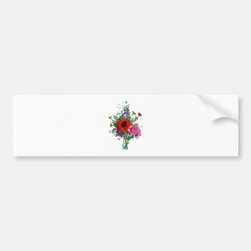 Jean Louis Prevost Poppy and Peony Bouquet Bumper Sticker