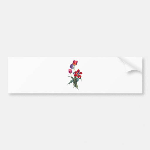 Jean Louis Prevost Red & Blue Tulip Bouquet Bumper Sticker