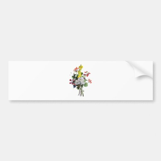 Jean Louis Prevost Rose and Begonia Bouquet Bumper Stickers