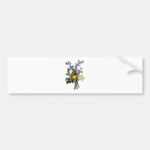 Jean Louis Prevost Rose and Narcissus Bouquet Bumper Sticker