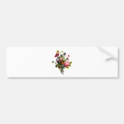 Jean Louis Prevost Roses and Pansy Bouquet Bumper Stickers