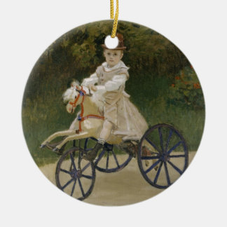 Jean Monet on his hobby horse Round Ceramic Ornament