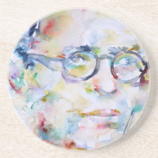 jean paul sartre - watercolor portrait beverage coaster