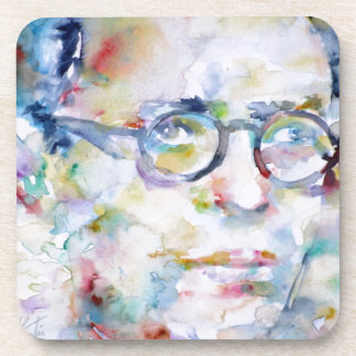 jean paul sartre - watercolor portrait coasters