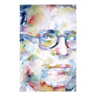 jean paul sartre - watercolor portrait customized stationery