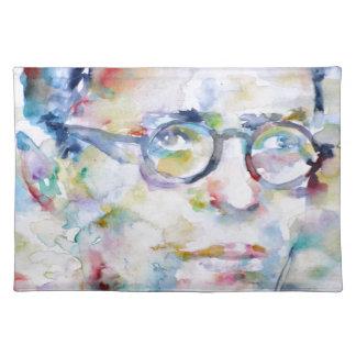 jean paul sartre - watercolor portrait placemat