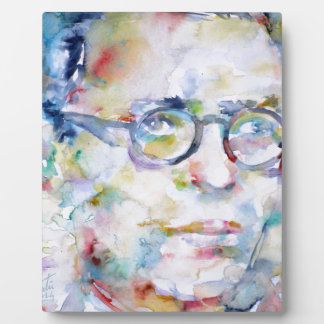 jean paul sartre - watercolor portrait plaque