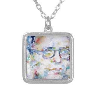 jean paul sartre - watercolor portrait silver plated necklace