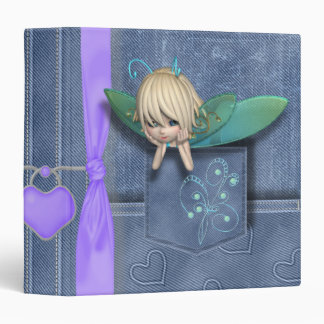 Jean Pocket Blue Green Fairy 3 Ring Binder