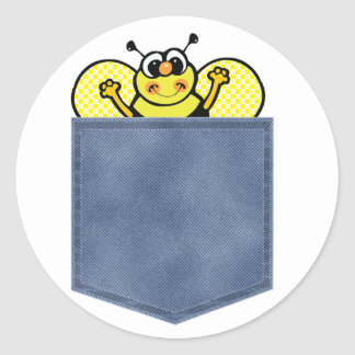 Jean Pocket Bumble Bee Classic Round Sticker