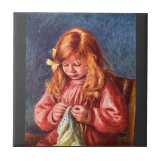 Jean Renoir sewing by Pierre Renoir Tile