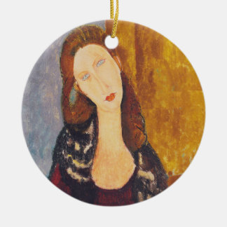 Jeanne Hebuterne portrait by Amedeo Modigliani Ceramic Ornament