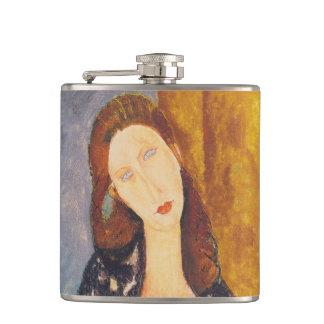 Jeanne Hebuterne portrait by Amedeo Modigliani Hip Flask