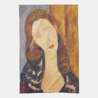 Jeanne Hebuterne portrait by Amedeo Modigliani Kitchen Towel