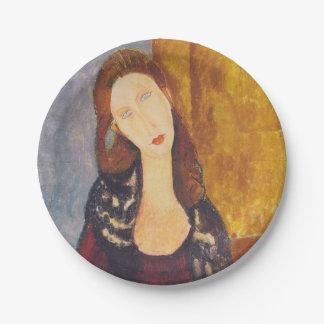 Jeanne Hebuterne portrait by Amedeo Modigliani Paper Plate