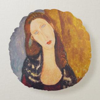 Jeanne Hebuterne portrait by Amedeo Modigliani Round Pillow