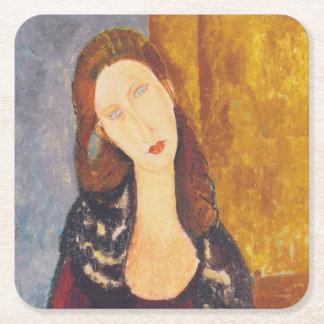 Jeanne Hebuterne portrait by Amedeo Modigliani Square Paper Coaster