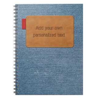 Jeans Texture with Customizable Leather Tag Notebooks