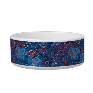 Jeanse traditional paisley floral blue pattern cat bowl