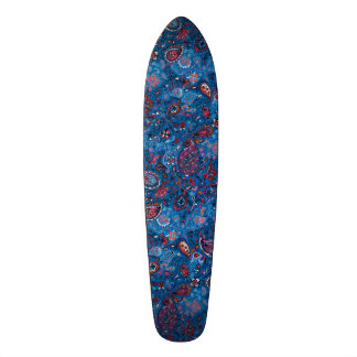 Jeanse traditional paisley floral blue pattern custom skate board