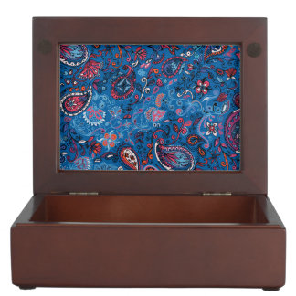 Jeanse traditional paisley floral blue pattern memory box