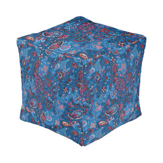 Jeanse traditional paisley floral blue pattern pouf