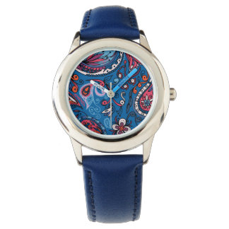 Jeanse traditional paisley floral blue pattern watch
