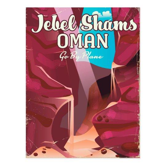 Jebel Shams, Oman vintage travel poster. Postcard