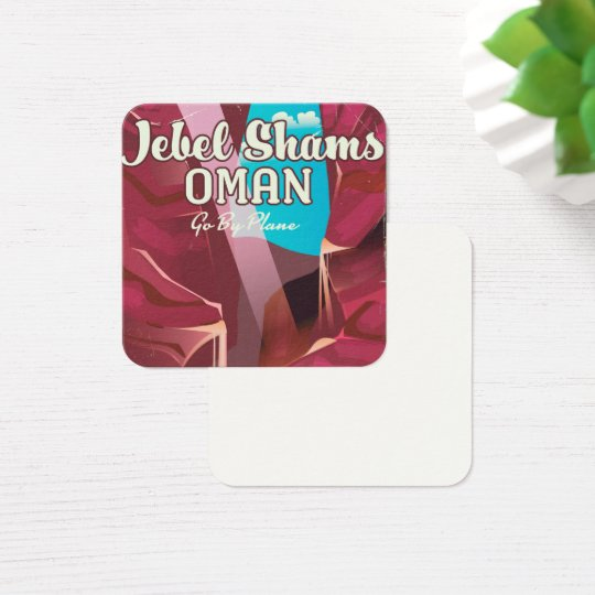 Jebel Shams, Oman vintage travel poster. Square Business Card