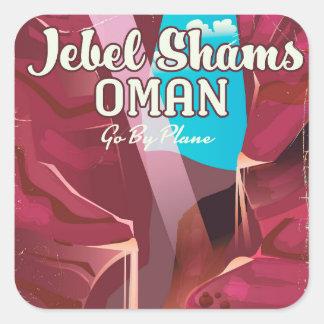 Jebel Shams, Oman vintage travel poster. Square Sticker