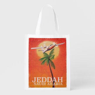 Jeddah Saudi Arabia Vacation poster Reusable Grocery Bag
