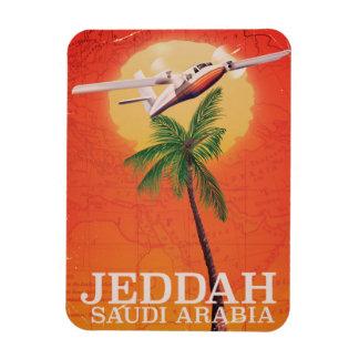 Jeddah Saudi Arabia vintage map travel poster. Magnet
