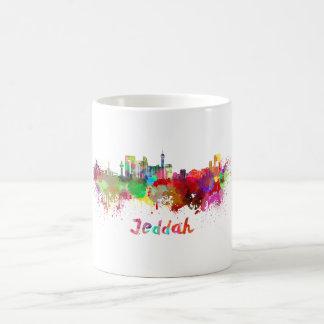 Jeddah skyline in watercolor coffee mug