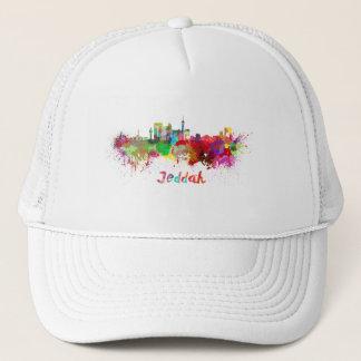 Jeddah skyline in watercolor trucker hat