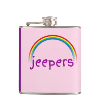 """""""Jeepers"""" Rainbow Pink & Purple Funny Hip Flask"""