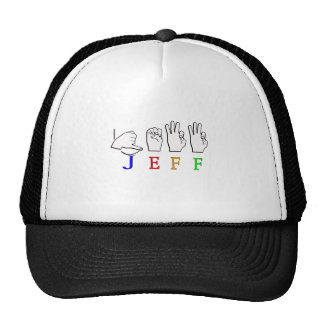 JEFF FINGERSPELLED ASL NAME SIGN TRUCKER HAT