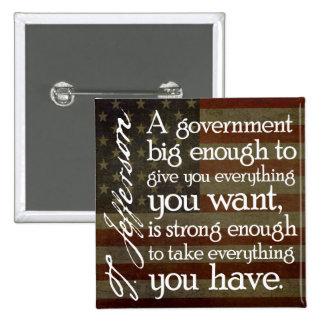Jefferson: Beware of Big Government 2 Inch Square Button