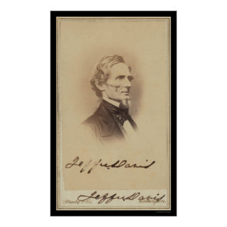 Jefferson Davis Signed Card 1860 Poster