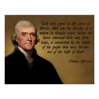 Jefferson God and Liberty Poster